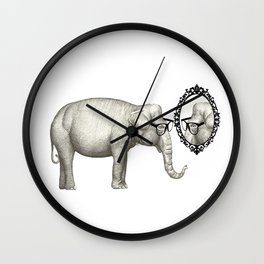Elefante con gafas, se mira en el espejo Wall Clock