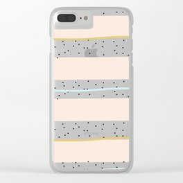 Pink and Blue stripes with gold confetti Clear iPhone Case