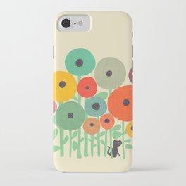 Cat in flower garden iPhone Case