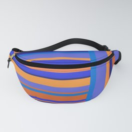 Vertical and Horizontal Stripes Blue and Orange Fanny Pack