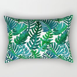 Round Palm Blue Green Rectangular Pillow