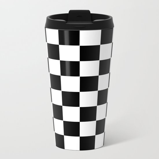 Checker Cross Squares Black & White Metal Travel Mug