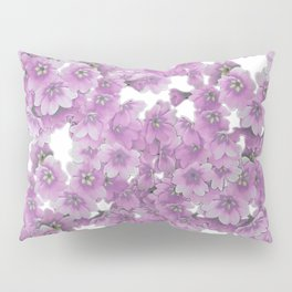 Pink Flowers on White Pillow Sham