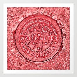 New Orleans Water Meter Louisiana Crescent City NOLA Water Board Metalwork Red Art Print