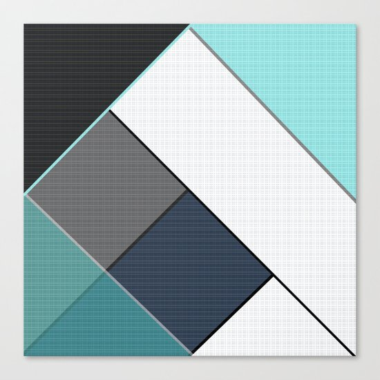 Grey-blue-black pattern . Abstraction . Patchwork . Canvas Print
