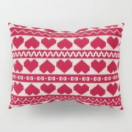 Fair Isle Valentines Day - Red Pillow Sham