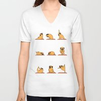 mad V-neck T-shirts featuring Pug Yoga by Huebucket