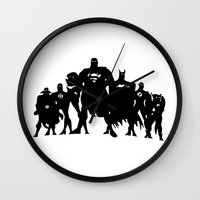 justice league Wall Clocks featuring Justice League Silhouette by iankingart