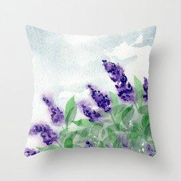 Watercolor Lilac Bush Throw Pillow
