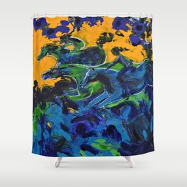 Horse Riders in the Autumn Sea Shower Curtain