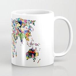 World map full of flowers and birds Coffee Mug