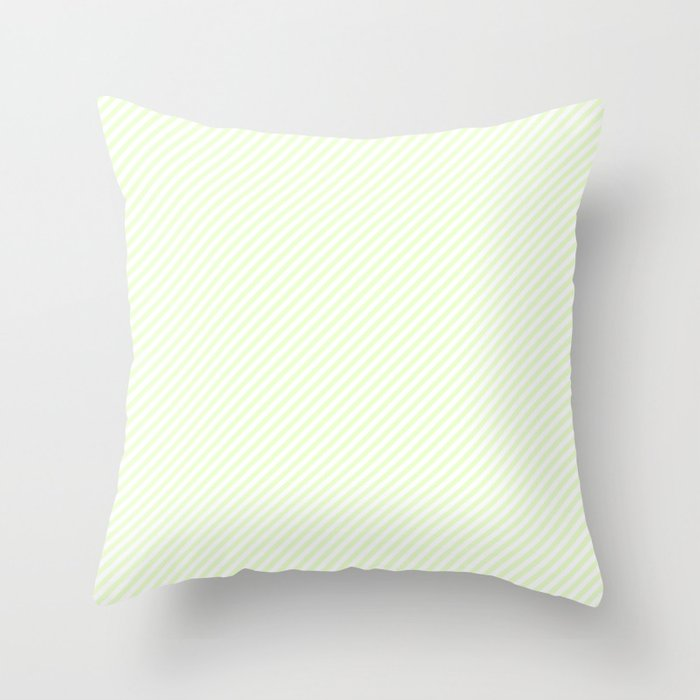 Mini Soft Pale Celery Green Pastel and White Candy Cane Stripes Throw Pillow