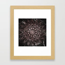 Elegant rose gold mandala dots and marble artwork Framed Art Print