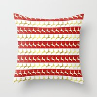 reindeer Throw Pillows featuring Reindeer by Laura Maria Designs