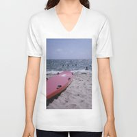 cape cod V-neck T-shirts featuring Cape Cod Beach by IanPlath