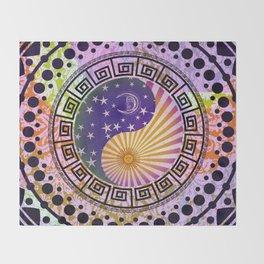Vintage Sun Moon & Stars Yin & Yang Throw Blanket