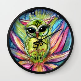 Lotus Owl original illustration from Spirit Owl Series by Sheridon Rayment Wall Clock