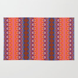 Vibrant blue and orange pattern Rug