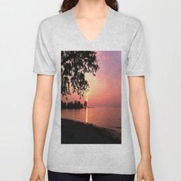 Sundown on Lake Constance Unisex V-Neck