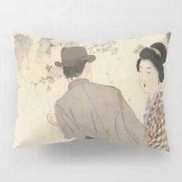 Man with bowler hat and umbrella and lady in kimono - Takeuchi Keishu (1900 - 1925) Pillow Sham