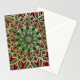 Islamic motive gold red and green ornate mandal Stationery Cards