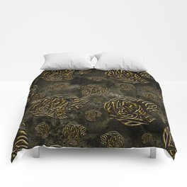 Mosaic of golden elephants Comforters