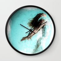 kandinsky Wall Clocks featuring Soaring!  Digital Print by Mark Compton by Mark Compton