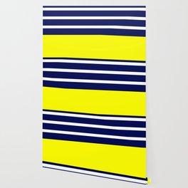 Summer Patio Perfect, Yellow, White & Navy Wallpaper