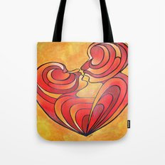 Lovers Kiss And Their Bodies Form A Love Heart Tote Bag