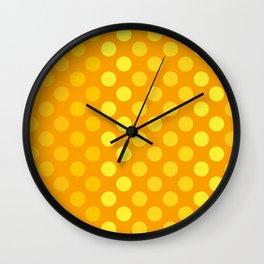 """Yellow & Ocher Burlap Texture & Polka Dots"" Wall Clock"
