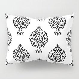 Orna Damask Pattern Black on White Pillow Sham
