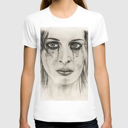 Crying girl - Drawing in pencil T-shirt