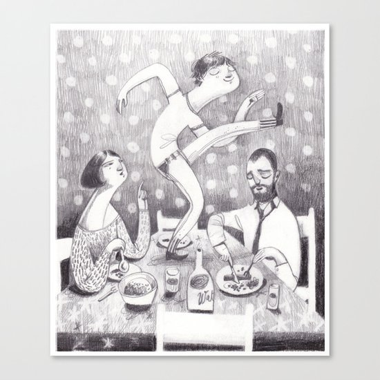 paul dances at the dinner table Canvas Print