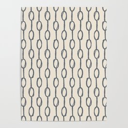 Pebble Dot Stripes Gray on Rose Petal Cream Poster