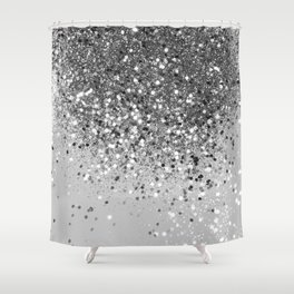 Soft Silver Gray Glitter #1 (Faux Glitter - Photography) #shiny #decor #art #society6 Shower Curtain