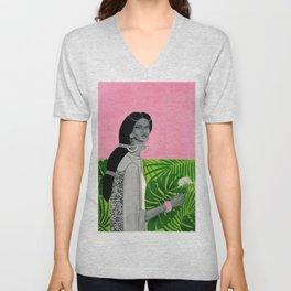 girl with a flower Unisex V-Neck