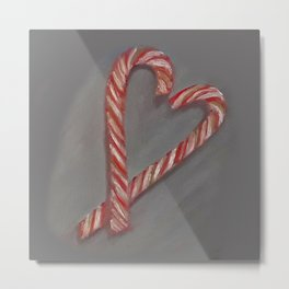 Candy canes, romantic, oil painting by Luna Smith, LuArt Gallery Metal Print