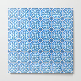 Light-blue acqua floral tiles Metal Print
