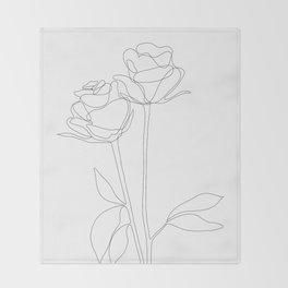 Two Minimal Roses Throw Blanket