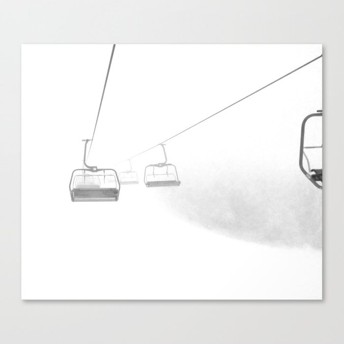 4 Seat Chair Lift Deep Snow B&W Canvas Print
