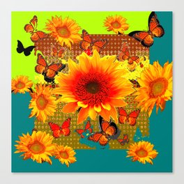 Western Yellow Sunflowers  Monarch Butterflies Teal-Lime Patterns Canvas Print