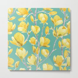 Yellow Magnolia Spring Bloom Metal Print