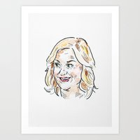 amy poehler Art Prints featuring Leslie Knope played by Amy Poehler from Parks and Recreation, Ovaries Before Brovaries by Liana Kangas