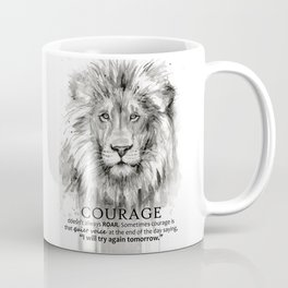 Lion Courage Motivational Quote Watercolor Painting Coffee Mug