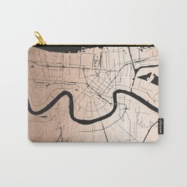 New Orleans Rose Gold and Black Map Carry-All Pouch