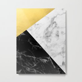 Marble & Gold Collage Metal Print
