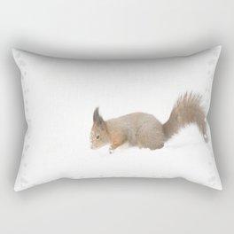 Little squirrel sitting in the snow #decor #society6 #buyart Rectangular Pillow