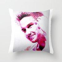 liam payne Throw Pillows featuring Liam Payne by Drawpassionn