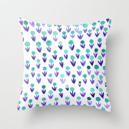 Dot flowers - turquoise and purple Throw Pillow