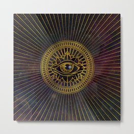 All Seeing Mystic Eye Gold on Nebula Sky Metal Print